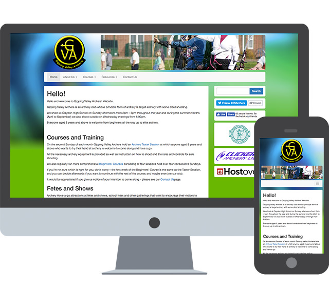 Responsive Web Design for Gipping Valley Archers